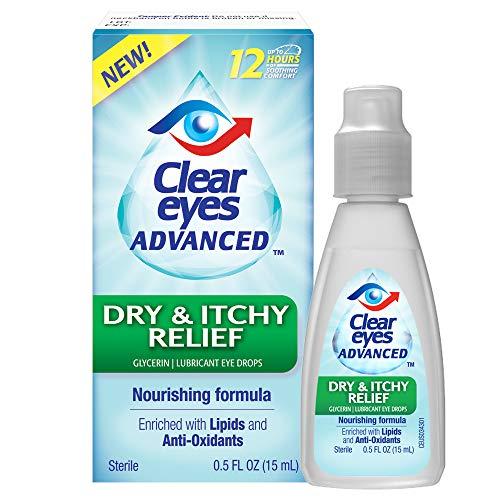 Clear Eyes Advanced | Dry & Itchy Relief Eye Drops | 0.5 FL OZ