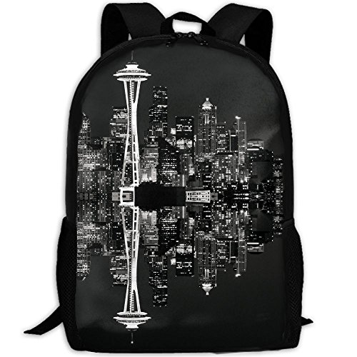 Seattle Skyline At Night Interest Print Custom Unique Casual Backpack School Bag Travel Daypack - Sunglasses Seattle Skyline