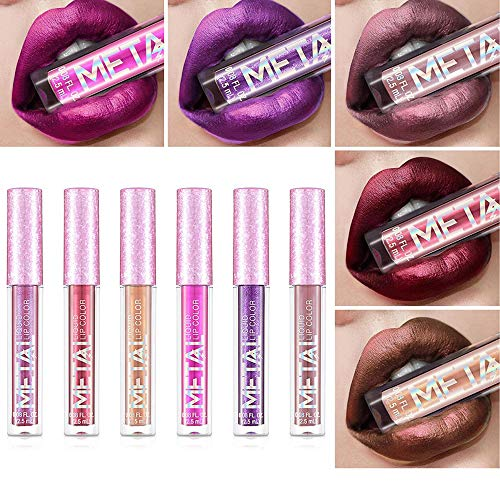 Bestnice 6pcs Metallic Pearlescent Non Fading Lip Gloss Color Matte Face Long Lasting Lipstick Metal Color Lip Makeup Metal Lipstick