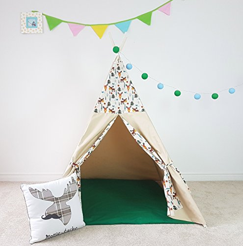 (Kids Teepee Forest Moose Double Sided Doors Light Tipi with Poles Boys Large Playhouse Play Photo prop Indoor Tent Small Canvas Teepee)