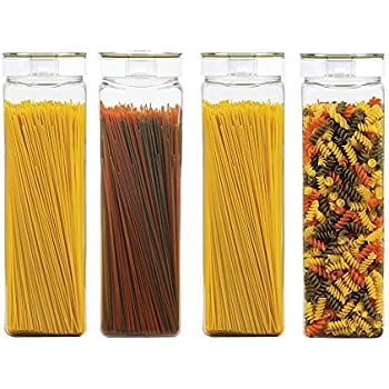 Takeya Freshlok Airtight Dry Food Storage Pasta Container Set 2.9Qt/2.7L/11.4cups (Set of 4), 2.9Qt (Without Handle), Clear