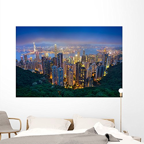 Wallmonkeys Hong Kong Skyline Wall Mural Peel and Stick Graphic (72 in W x 48 in H) WM361659