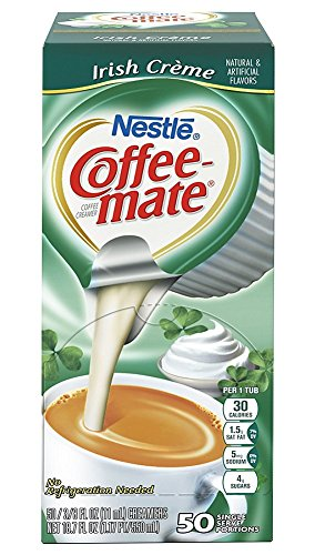 Coffee-one of a pair Liquid Creamer Singles - Irish Creme - 50 ct