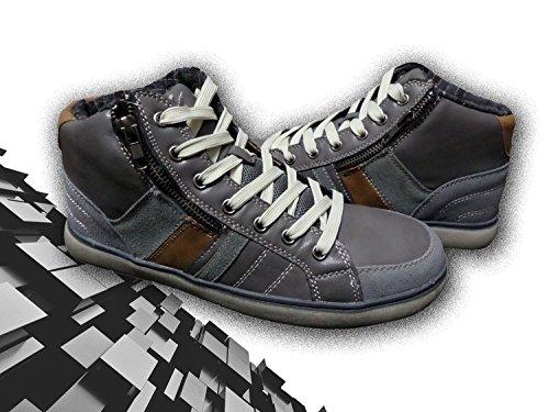 GRAFITE Scarpe grigio sneaker con ® tonda punta WAVE laterale mod e uomo cerniera store MEDIA q4arZwt4