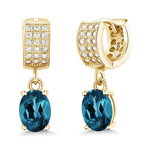 Gem Stone King 3.27 Ct Oval London Blue Topaz 18K Yellow Gold Plated Silver Earrings