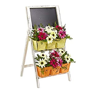 Nearly Natural 1762 31-in. Mixed Daisy Artificial Farmhouse Stand with Chalkboard Silk Arrangements, Purple/Cream 39