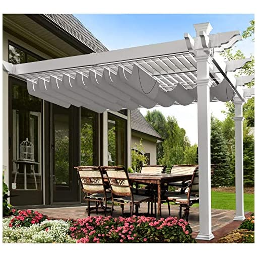 Garden and Outdoor E&K Patio Pergola Shade Cover Replacement Retractable Awning Waterproof Canopy Shade Wave Sail Slide Wire Awning Shade… pergolas