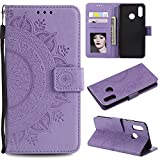 Floral Wallet Case for Huawei P20 Lite,Strap Flip Case for Huawei P20 Lite,Leecase Embossed Totem Flower Design Pu Leather Bookstyle Stand Flip Case for Huawei P20 Lite-Purple