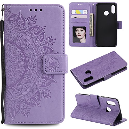 Floral Wallet Case for Huawei P20 Lite,Strap Flip Case for Huawei P20 Lite,Leecase Embossed Totem Flower Design Pu Leather Bookstyle Stand Flip Case for Huawei P20 Lite-Purple by Leecase