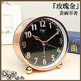 Rose gold white collar fashion alarm clock bedside minimalist creative clock mute bedroom modern small desk clock,Black