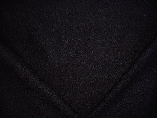 76H13 - Jet Black Furry Lined Textured Boucle Designer Upholstery Drapery Fabric - By the Yard -