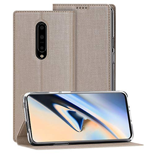OnePlus 7 Pro Case, Foluu Flip Folio Wallet Cover Slim Premium PU Leather Case ID Credit Card Slots Stand Kickstand and Magnetic Closure Clear TPU Bumper Cover for OnePlus 7 Pro 2019 (Gold) (Best Credit Card Wallet 2019)