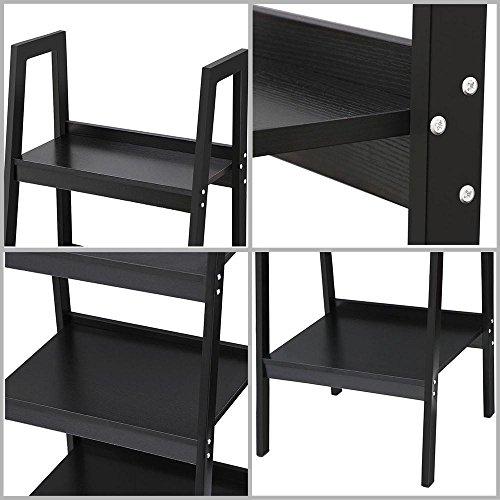 Topeakmart 4 Shelf Floor Standing Leaning/Corner Ladder Shelf Black Wood Bookcase/Bookshelf with Metal Legs/Frame by Topeakmart (Image #7)