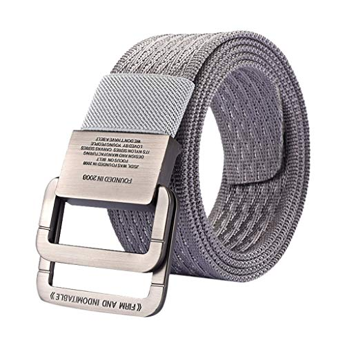 - Mens Canvas Belt, Non-Porous Adjustable Nylon Military Tactical Belt Men Waist Webbed Belt Breathable Belt with Double Ring Buckle Belt (Gray)