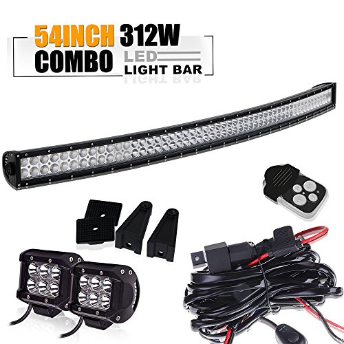 TURBOSII 54 Inch Offroad Led Light Bar Black Curved Spot Flood Combo Beam Bumper Lights Windshield Roof Lights for Jeep Wrangler Jk Yukon Hummer Gmc Atv Rzr Truck Rv Dodge Ram Utv 4X4 Suv Boat Chevy
