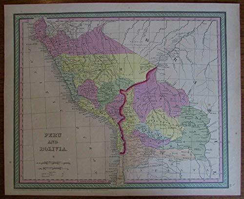 Peru Bolivia Brazil Lima Cuzco lovely 1850 Mitchell scarce antique map