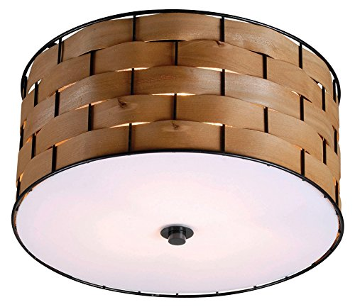 Flush Mount Natural (Kenroy Home 92044DWW Shaker 3 Light Flush Mount)
