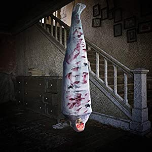 MAOYUE Halloween Decorations Cocoon Corpse, Halloween Props 72 Inch Hanging Corpses with LED Skull Eyes, Spider Cover and Sound Induction, Halloween Outdoor Props Decoration