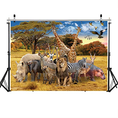 - SJOLOON 7x5ft Safari Animals Backdrop Tropical Jungle Photography Background African Forest Animal Landscape for Zoo Theme Party Birthday Decoration Children Photo Booth 11561
