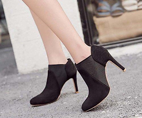 piede Black Bootie Corte 35 Scarpe Fascia Shoes Seude punta Elastico Taglia Dress 9cm Donne Stiletto 40 di Eu Stivaletto Charming Donne il Scarpe 0taBRx