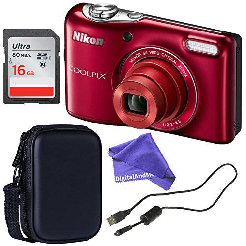 Nikon COOLPIX L32 ALL YOU NEED Digital Camera BUNDLE with 5x Wide-Angle NIKKOR Zoom Lens + 16GB SD + Compact Camera Case + USB Cable + DigitalAndMore Microfiber Cleaning Cloth (16GB)