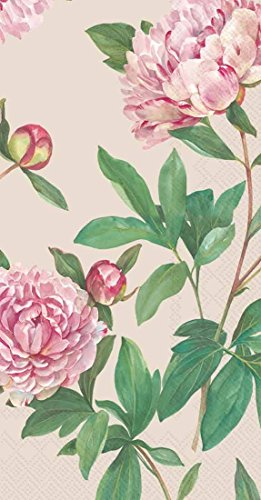 Boston International 16 Count 3-Ply Paper Guest Towel Napkins, Linen Peoria (Peony Linen)