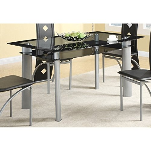 Coaster 121051 Fontanta Dining Table Tinted Glass Top And Metal Legs (Glass Top Rectangular Dining Table)