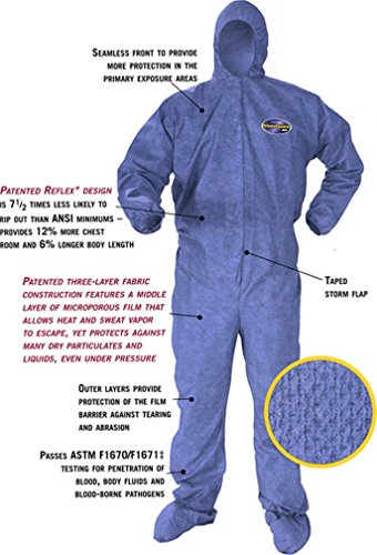 Kleenguard A60 Bloodborne Pathogen and Chemical Protective Coverall Suit Hooded and Booted - M, L, XL, 2XL (Large)