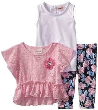 Little Lass Baby Girls' 3 Piece Crochet Set with Flower Print Legging, Pink, 12 Months