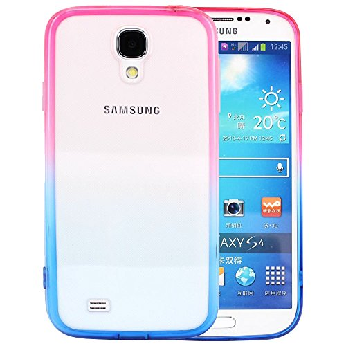 Bumper Silicone Skin (S4 Case, Samsung S4 Case,Galaxy S4 Case ,BAISRKE Hotpink and Blue Gradient TPU Soft Edge Bumper Case Rubber Silicone Skin Cover for Samsung Galaxy S4 I9500 I9505)