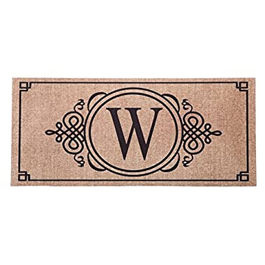 1 X Sassafras Decorative Insert Mat, 10x22 Inches, Burlap Monogram W