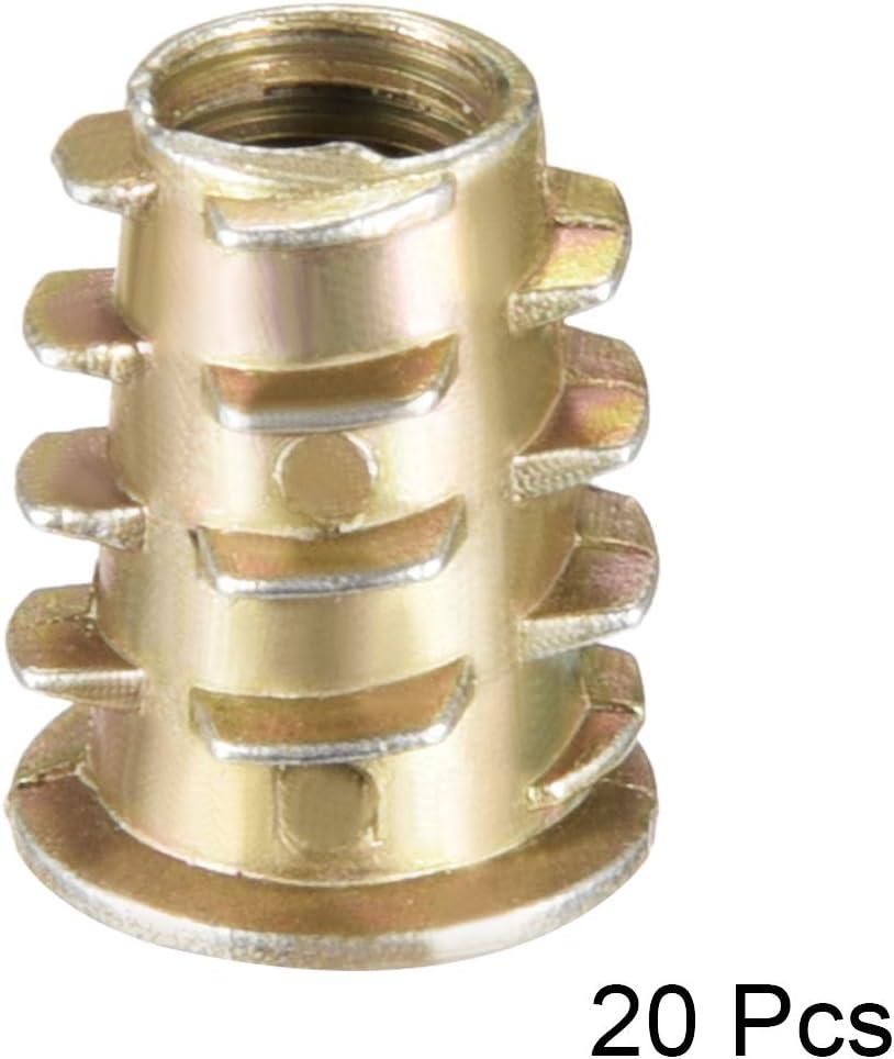uxcell 20pcs M6x14mm Threaded Insert Nuts Zinc Alloy Hex Socket M6 Internal Threads 14mm Length