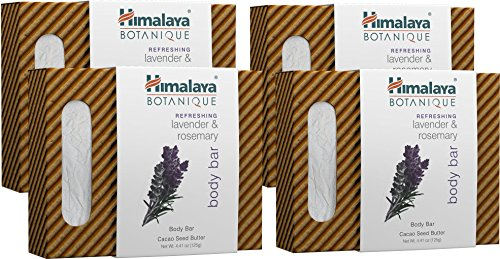 Beautiful Herbal Bar Soap - Himalaya Botanique Lavender & Rosemary Handcrafted Bar Soap, Free-from Parabens, SLS, Phthalates, Artificial Colors and Artificial Fragrances, 4.41 oz (125 g) 4 PACK
