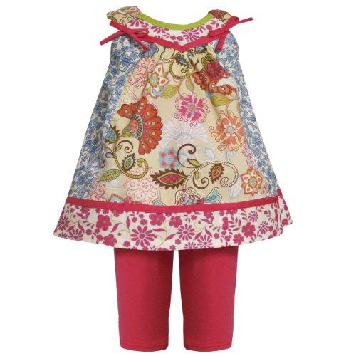 Bonnie Jean Baby Girls Multicolor Colorblock Mix Floral Print Dress/Legging Set