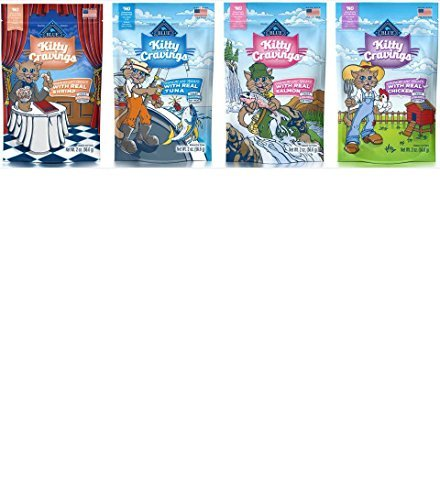 Blue Buffalo Kitty Cravings Crunchy Cat Treat, 4 Flavor pack (Blue Cat Treats)