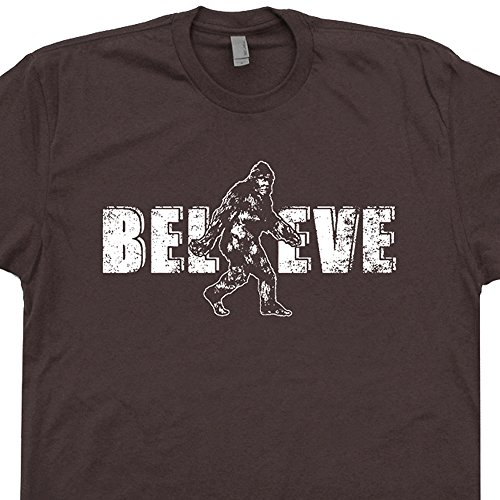XXL - Bigfoot Believe T Shirt Sasquatch Shirts Yeti Cryptozoology Funny Graphic Tee Redwood Forest
