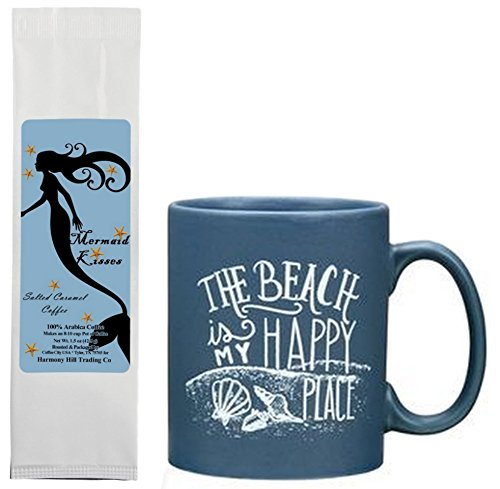 Cottage Vacation Rentals (The Beach is My Happy Place Mug with Mermaid Kisses Salted Caramel Coffee Gift Set Bundle (2 Items))