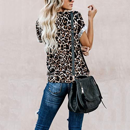 Casual Corta 2019 Mujer Verano Jersey Tops Camisetas Manadlian Con Pico Impresa Cuello Manga Blusa Café Para Camisa Leopardo De qgSw40
