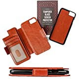 Thru View 7+ Wallet Case - Compatible With iPhone 7 Plus - Luxury Vegan Leather & Detachable Magnetic Shell | RFID Protection - Brown