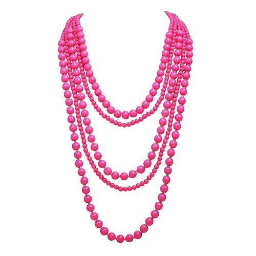 PearlPlus Women's Fashion Statement Multi layered Rose Beads Cluster Necklace Trendy Long (Multi Chain Beaded Necklace)