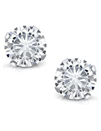 Charles & Colvard 4mm VG Moissanite 0.50 cttw 14k White Gold Friction Back Round 4 Prong Stud Earrings (0.44 cttw Moissanite, White Color, SI2-100% Eye Clean)