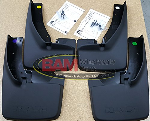 Dodge Ram with Fender Flares Front and Rear Deluxe Molded Splash Guards Mud Flaps (Rear Deluxe Fender)