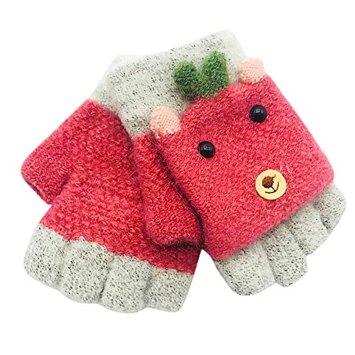 Little Kids Winter Gloves,Jchen(TM) Baby Kids Little Girls Boys Winter Cartoon Animal Patchwork Keep Warm Mittens Gloves for 1-3 Y (Watermelon Red)