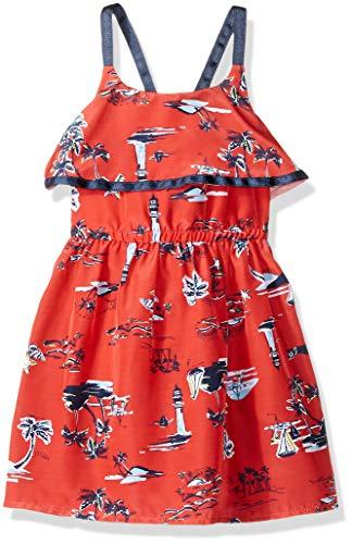 (Nautica Girls' Spaghetti Strap Fashion Dress  scenic print red 3T)