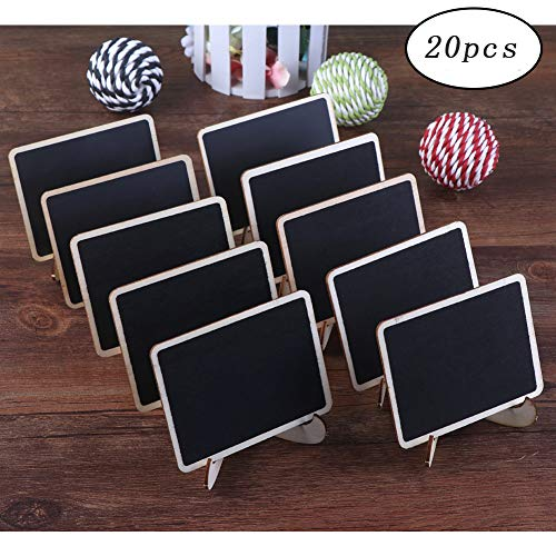 OurWarm 20pcs Mini Chalkboard Signs with Easels, Rectangle Small Chalkboards Place Cards for Weddings and Event Decorations