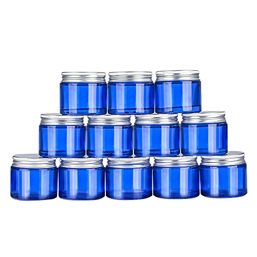 12 pack 2oz Empty Blue Glass Round Jars bottles,Cosmetics bottles,with White Inner Liners and Sliver Lids.Glass Jars Prefect for Cosmetics and Face cream Lotion.