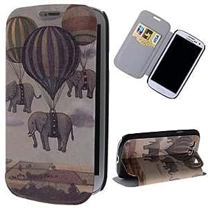 volar elefantes y globos patrón de cuero de la PU caso de cuerpo completo con soporte y ranura para tarjeta para la galaxia s3 i9300