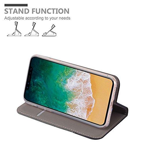 Cadorabo - Funda Estilo Book para >                                  Apple iPhone X                                  < de Diseño Tela / Cuero Arificial con Tarjetero, Función de Soporte y Cierre Magnético Invisible �?Etui Case Cover Carcasa Caja Protección en GRIS-N GRIS-NEGRO