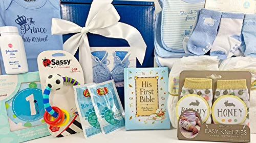 - Baby Boy Gift Set Box Basket - 19 Items for the Newborn Bundle of Joy - Send Congratulations to the New Parents! Great for a Baby Shower Gift!