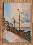Italian Area Rug by Ambesonne, Dawn at Ortona Abruzzo Italy Terrace View on the Adriatic Sea Print, Flat Woven Accent Rug for Living Room Bedroom Dining Room, 5.2 x 7.5 FT, Pale Caramel and White
